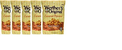 Werther's, Original, Caramel Popcorn, Classic Caramel, 6 Ounce Bag (Pack of 5) with 1 Free bag of werther's Chewy Sugar free bag candy