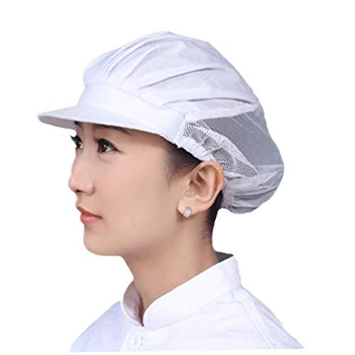 Aisoway Catering Unisex Malla Sombrero del Cocinero del Restaurante De Cocina De Trabajo Casquillo Elástico Mitad De Malla