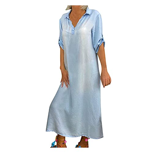 ZDJH Maxi-jurk voor dames, korte mouwen, V-hals, effen, lange jeansjurk, vloeiende zoom, elegante partyjurk, longshirt, swingjurk, dagelijkse kleding, blousejurken