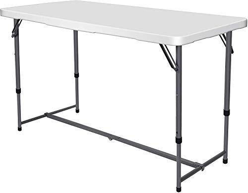 Nestling® 120x62x76cm Terrasse und Balkon - Kunststoff Tisch Klapptisch gut geeignet als Partytisch oder Buffettisch für Garten Campingtisch Tragegriff, Maximale Belastung 200 kg,weiß