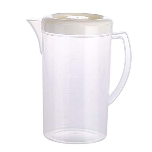 CXJJ Botellas de Agua con Tiempos de Bebida La Jarra de plástico Transparente con Tapa de plástico en frío Caldera de Gran Capacidad Blanco Rosa Home Restaurant Hotel (Color : White)