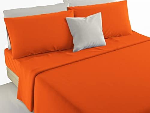 Irge - Juego completo de sábanas para cama de matrimonio o individual, 100 % puro algodón, producto prima fabricado en Italia (Marta naranja, individual)