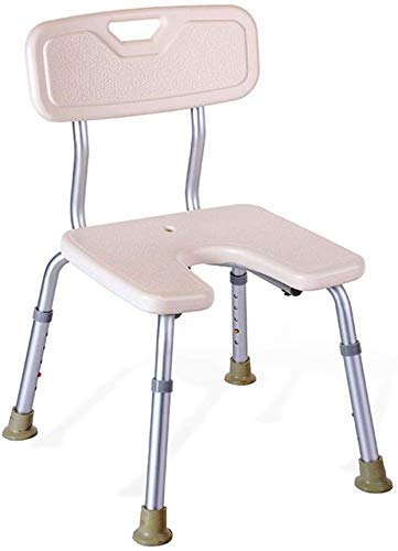 YHtech Stools Stool White U Type Waterproof Safety Comfort Backrest Bath Chair Elderly/Handicapped/Pregnant Adjustable Height Aluminum Alloy Bath Stool AntiSlip Chair Max. 136kg Easy to manage