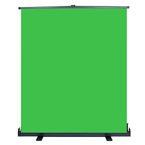 HAKUTATZ® 154X200cm Chromakey Greenscreen mit Auto-Lock-Rahmen faltenfestes Gewebe Fester Aluminiumfuß Hintergrund für YouTube Fotostudio