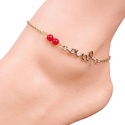 Ogquaton Pulsera de Tobillo con delicadas Cuentas Rojas Colgante Mujer Cadenas de pie Adornos Patrón de Amor Creativo y útil