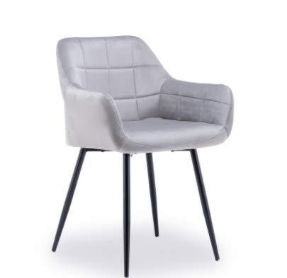Grey Velvet Chair for Dining Room/Living Room/Bedroom, Soft Seat with Metallic Legs and Armrest (Grau, Einheitsgröße)