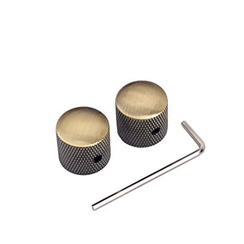 Alnicov Perillas de control de volumen del tono de la guitarra, 2 unidades, botones de control de metal con llave Truss Rod para bajo eléctrico