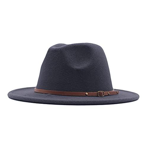 MarryLee Classic Fedora Wool Hats for Women Lady Solid Wide Brim Floppy Panama Hat with Belt Buckle Winter Warm Hat (Dark Gray)