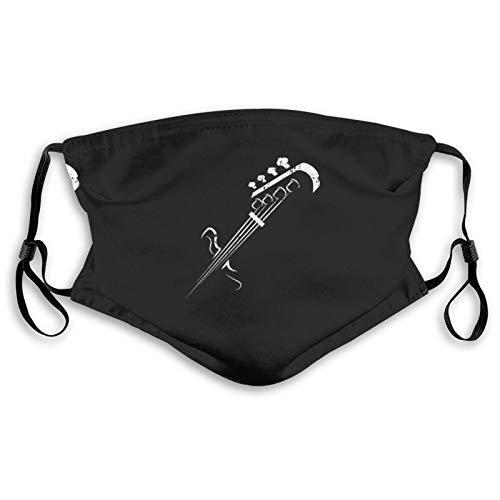 Bass Guitar Silhouette Face Mask Reusable Dust Proof Cloth Mask for Women Men Black