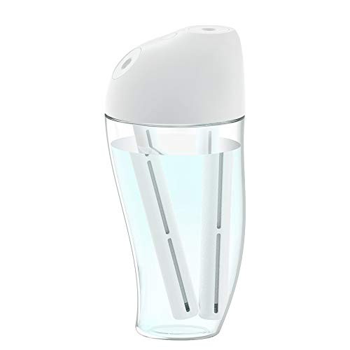 HandFan Ultraschallnebelbefeuchter USB batteriebetriebener Mini-Tischbefeuchter Doppeldüse tragbarer persönlicher Luftbefeuchter ultra-leises LED-Nachtlicht für Schlafzimmer/Büro/Auto