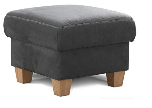 Cavadore Hocker Wisconsin / Sofa-Hocker, Sitzhocker, bzw. Fußbank mit Stauraum im Landhausstil / Holzfüße in Buche / Mikrofaser in Lederoptik / Größe: 58 x 45 x 58 cm (BxHxT) / Farbe:Grau