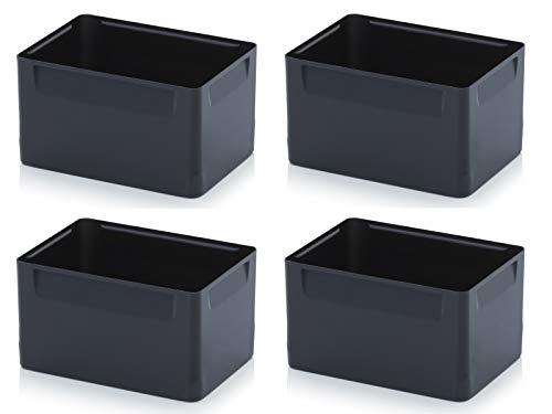 Einsatzkästen 4er Set 15cm Höhe für Auer Eurobehälter 60x40 * Einsatz Kästen Einsätze schwarz