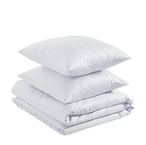 Amazon Basics - Juego de funda nórdica ligera de algodón - 260 x 240 cm / 65 x 65 cm, Blanco