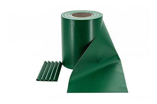 ILESTO PVC Sichtschutzstreifen für Doppelstabmatten – Sichtschutz für Ihren Gartenzaun & Doppelstabmattenzaun - 35m x 19cm inkl. 20 Clips – Moosgrün (RAL 6005)