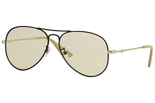 Brand: Gucci Model: Gucci Logo; GG0515S Style: Pilot Frame/Temple Color: Black/Gold - 003 Lens Color: Yellow Size: Lens-60 Bridge-14 Temple-145mm Gender: Men's Made In: Japan