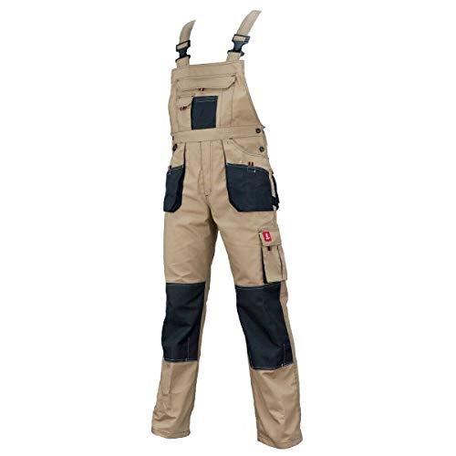 K&G Arbeitslatzhose URG-C BEIGE Sicherheitshose Latzhose Schutzhose Kombihose Herrenhose Hose Arbeitshose Kombihose für Handwerker (52)
