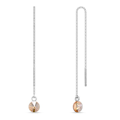 Swarovski Elements, orecchini in argento 925, lungo pendente da regolare, lunghezza variabile, cristallo Swarovski rotondo e argento, colore: gold, cod. 33511