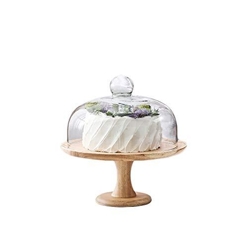 Brotkäse Behälter Käseplattenabdeckungen Hölzerne Kuchen-Scheibe, hohes niedriges Bankett-Hotel-Probieren-Behälter-transparente Glaskuppel-Süßigkeits-Nachtisch-Ausstellungsstand-Durchmesser 20.3-25.5C
