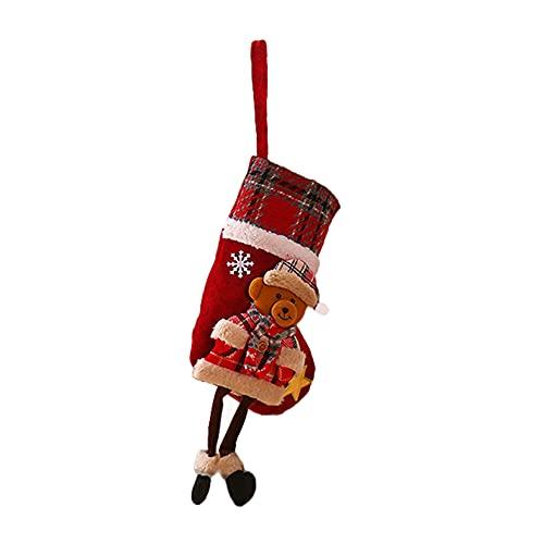 FOUTP Calcetín de Navidad,Medias de Navidad Bolsa de Regalo,para Bolsa de Regalo de Saco de Navidad para la decoración del árbol Calcetín de decoración navideña para llenar y Colgar (Soportar)