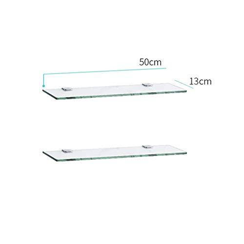 Wandgemonteerde glazen badkamerplank, 2-traps doucheplank, rechthoekige glazen beugel voor badkuipen voor cosmetica (afmetingen: 50 cm/19,6 inch) 50cm/19.6''