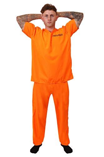 Disfraz de prisionero para adultos, unisex, color naranja, para convicto, prisionero, polica y robares. Incluye: camiseta y pantaln de color naranja. Talla: XL