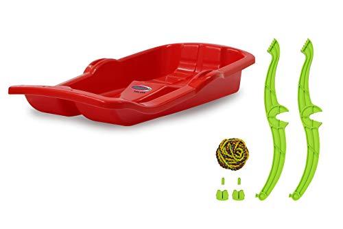 Jamara 460364 - Snow Play Bob Karol mit Bremse 80cm rot - Lenkung durch Ziehen der jeweiligen Handbremse, Seil zum Ziehen, aerodynamische Bauweise, ergonomische Sitz, robuster Kunststoff, 1KG