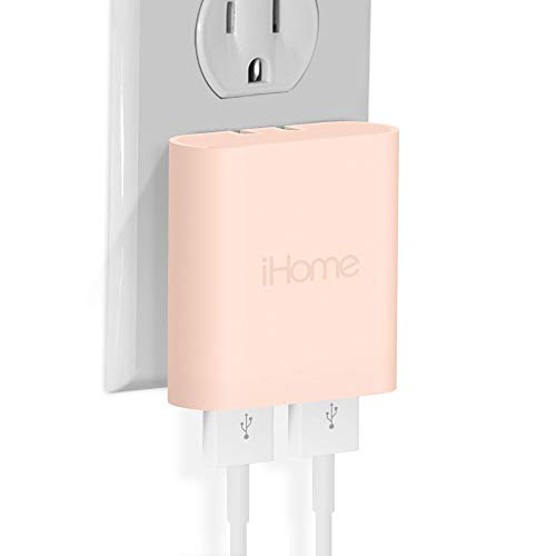 iHome AC Pro 3.4 Amp 2-Port USB Wall Charger, Flat Foldable Plug for iPhone 12/12 Pro/12 Pro Max/ 11/11 Pro/11 Pro Max/Xs,/Xs Max/XR/X/8/Airpods, iPad, Samsung Galaxy Android & More, Pastel Pink