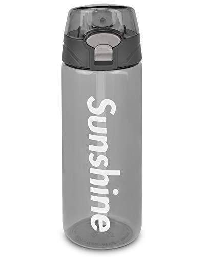 Botella Agua Deporte, 550ml Botella Agua Sin BPA Deportes, Reutilizables Ecológica Tritan con Tapa Abatible Fácil Apertura con Un Clic, Cierre a Prueba Fugas para Senderismo al Aire Libre