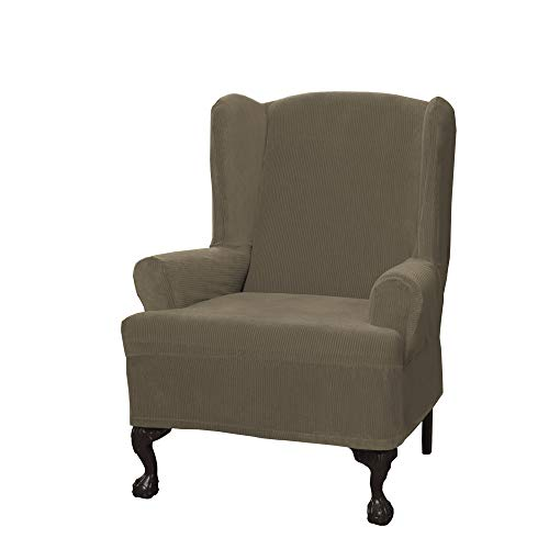 MAYTEX Collin Stretch 1-Piece Slipcover Wing Chair, Moss