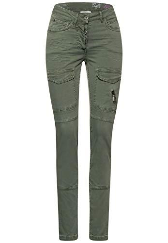Cecil Damen Hose mit Cargo-Taschen Soft Khaki 31 Schlanke Passform, Hipster, Enge Beinform, Damenhose Style Vicky