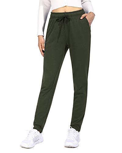 OUGES Damen Jogginghose Yoga Hose Baumwolle Sporthose Lang Freizeithose Trainingshose mit Taschen für Frauen(Olive,L)