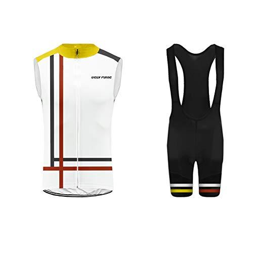 Uglyfrog Gilet Ciclismo Set 2019 Sport all'Aria Aperta Usura Senza Maniche Maglia + Pantaloni Corti Ciclismo Bicicletta Abbigliamento Bici Triathlon Wear WMJX05