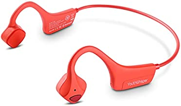 YouthWhisper Bone Conduction Headphones - Bluetooth 5.0v with Microphone, Titanium Lightweight Wireless Open-Ear Sweat Resistant, Answer Phone Call Headset for Running Hiking Driving Bicycling - Red