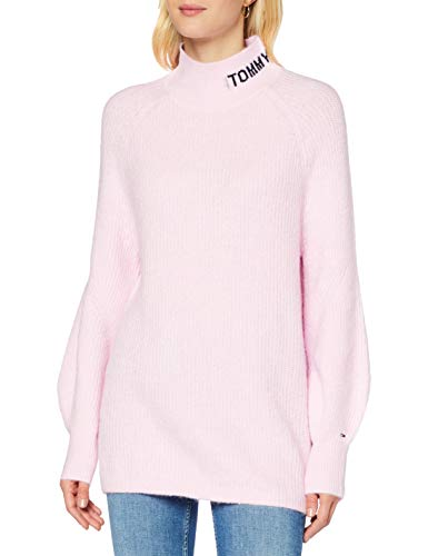 Tommy Hilfiger TJW Lofty Turtle Neck Sweater Maglione, Rosa Romantico, S Donna