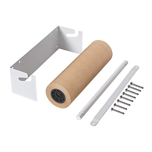 1Set 67Cm/26In Wall Mounted Roller Holder with Dispenser and Cutter Bar and Reusable Roller Paper - Fit 60Cm/23.6In Roll,WhiteFrame+KraftPaper