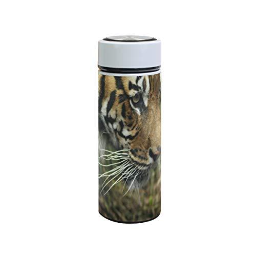 XiangHeFu roestvrijstalen thermosfles reisbeker houdt koud of warm, lekvrij, Sport Tiger Staring