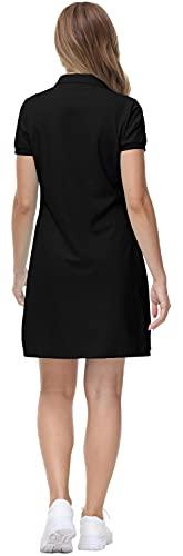 MoFiz Vestido de Polo Mujer Manga Corta Verano Algodón Trabajo Vestido Deportivo Tenis Golf Dress Negro L