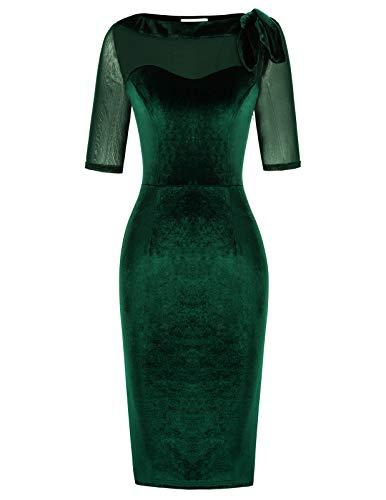 Belle Poque Mujer Vestido Elasticidad Elegante Cóctel Fiesta Verde Oscuro L