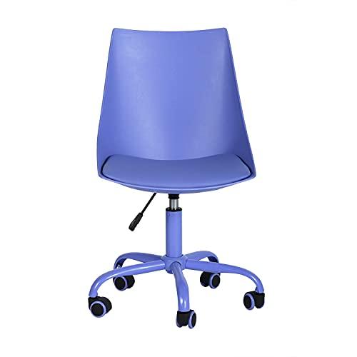 Silla de oficina ergonómica y moderna, giratoria, para casa, oficina, taburete de trabajo con respaldo medio y ruedas de poliuretano del mismo color, taburete de oficina sin brazos, color azul