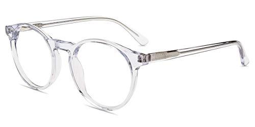 Firmoo Blaulichtfilter Brille Durchsichtig für Damen Herren, Computer Brille mit Blaulichtfilter ohne Sehstärke für Bildschirme, Runde Blaulicht UV Schutzbrille mit Federschanier