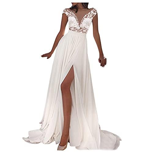 Vestidos de Novia Baratos Vestidos Largos para Boda de Noche,Vestidos de Fiesta Largos de Noche, Vestido de Novia Vestido de Noche Dividido de Encaje (Blanco, XL)