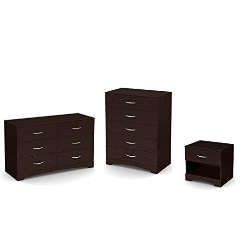 Home Square 3 Piece Set with Dresser Nightstand and Drawer Chest in Dark Chocolate
