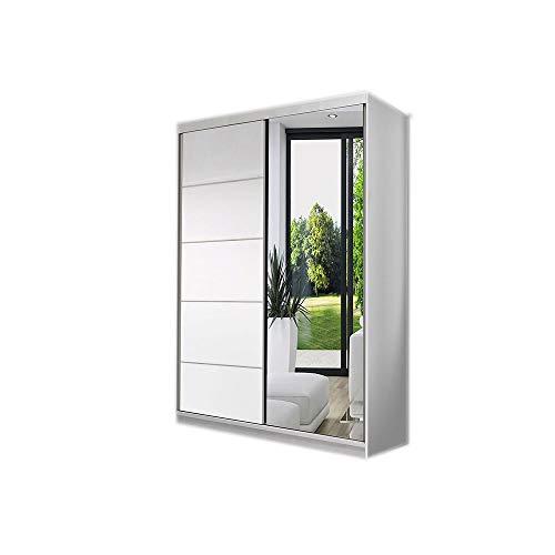 MOEBLO Kleiderschrank Schwebetürenschrank mit Spiegel 2-türig Schrank mit Einlegeböden und Kleiderstange Gaderobe Schiebtüren BxHxT 120x200x61 NOAH05 (Weiß)