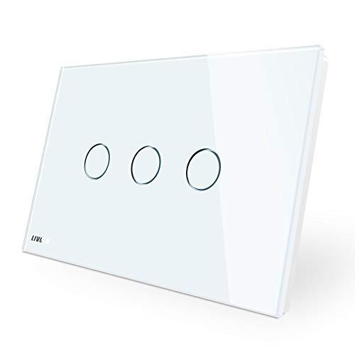 LIVOLO Interruttore della Luce con Indicatore LED Touch Switch con Pannello in Cristallo Toccare Interruttore a parete per Illuminazione Domestica,3 Gang 1 Way,C903-11
