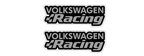 Racing Aufkleber kompatibel mit Volkswagen VW Auto Heckscheibe Sticker / Plus Schlüsselringanhänger aus Kokosnuss-Schale / Golf GTI Polo Scirocco Lupo Passat Touareg Käfer (2 Aufkleber 20x7.2cm)