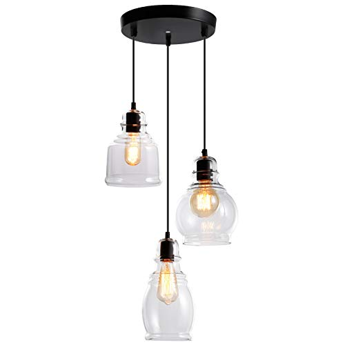 ESCENA Vintage Glass Pendant Light, UL-Listed Classic...