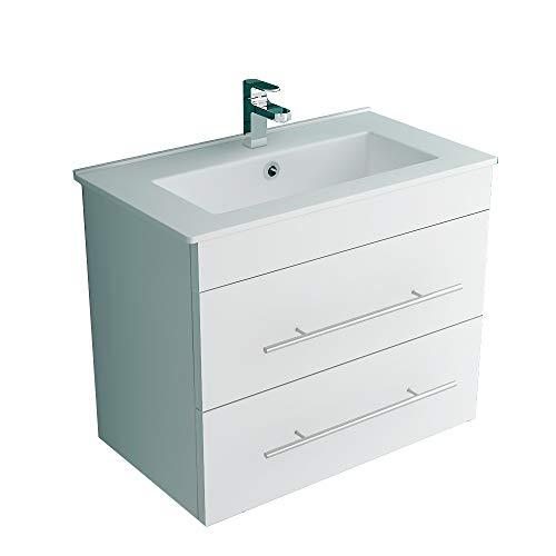 Alpenberger Badmöbel Set Unterschrank vormontiert mit Waschbecken Antibakterielle Nano-Beschichtung I Möbel mit zwei Schubladen Soft-Close I Gäste WC