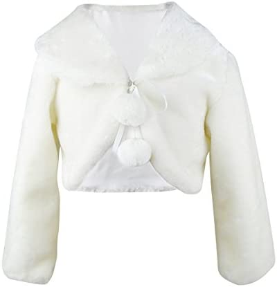 Abbyabbie Li Flower Girl Dress Coat Girl Cozy Faux Fur Bolero Shrug Accessories Princess Cape product image