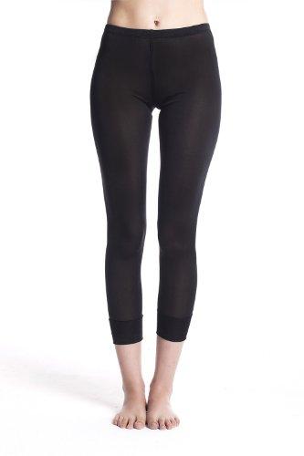 Jasmine Silk Damen 100% Seide Thermo Hose lang Unterhose Leggings Leggins Strumpfhose Legging - warm, weich und atmungsaktiv - Schwarz...