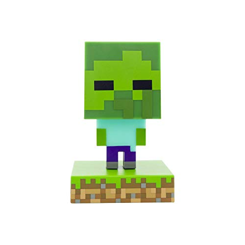Paladone Minecraft Zombie Icon Lumière BDP | Mini veilleuse | Fun Pixelated Super Lumineux, Multicolore, PP6592MCF